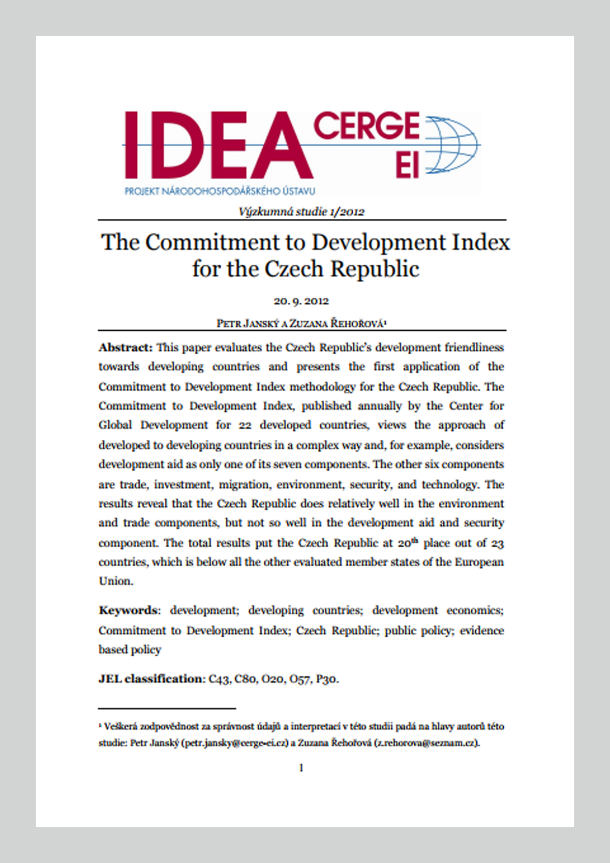 The Commitment to Development Index for the Czech Republic